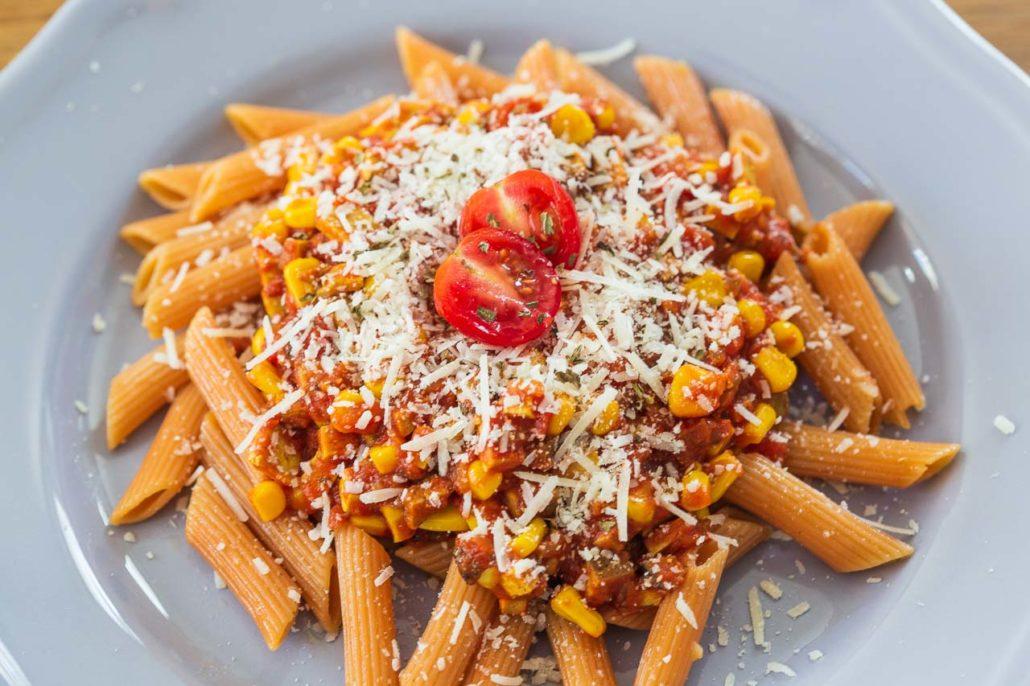 Rezept Nudeln aus Kichererbsen mit Soja-tomatensosse