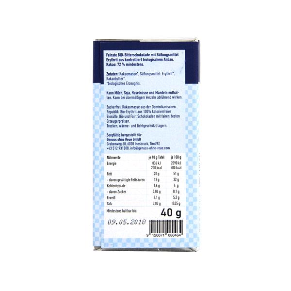 Zuckerfreie Bio Dunkelschokolade